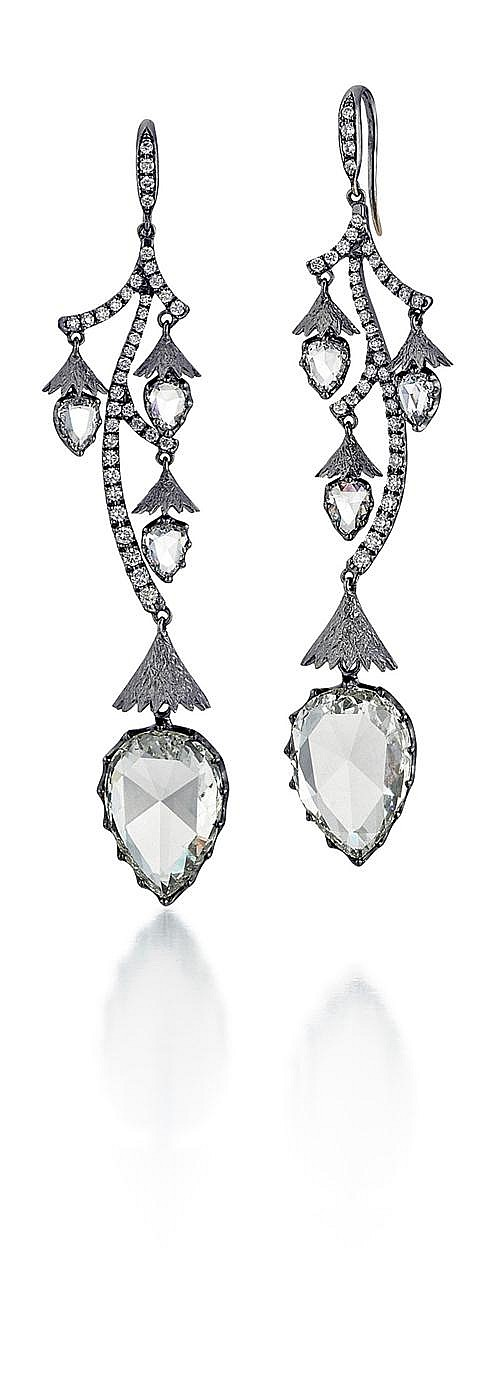 18kt White Gold and Rose Cut Diamond Earrings, Pair