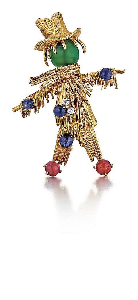 Van Cleef & Arpels, French, 18kt Yellow Gold Scarecrow Pin