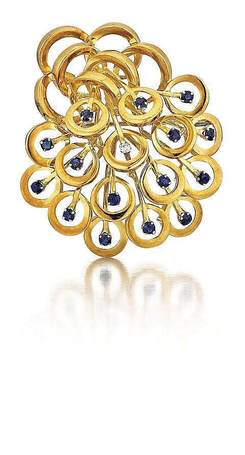 18kt Yellow Gold, Blue Sapphire and Diamond Lady's Pin