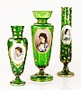 3 19th C. Bohemian Glass Vases