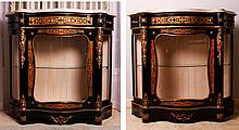 Pair Napoleon III Style Marble Top Boulle Side Cabinets