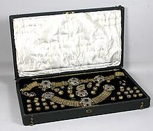 19th C. Suite of Jewelry, Silver and Jeweled