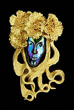 19th C. Art Nouveau Austrian 22K Gold Pendant