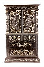 19th C. Anglo-Indian Ebony Miniature Cabinet