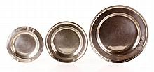 3 French Pewter Chargers