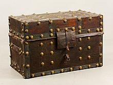 19th C. Leather and Brass Bound Trunk