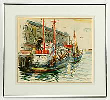 Demetropoulos, Boston Harbor Scene, W/C