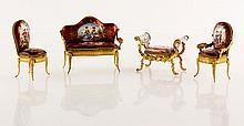 Limoges Miniature Enameled Furniture Set
