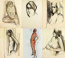 Jeswald, Lot of Six Drawings