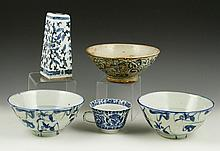 Five Chinese Blue and White Porcelain Items