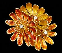 Cartier 18K Enameled Floral Brooch