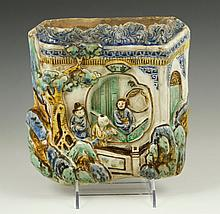 Chinese Glazed Pottery Wall Pocket