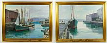 Dinkel, Lot of Two Harbor Scene Paintings