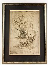 Yakin, Figures in Movement, Etching