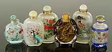 Six Chinese Glass Snuff Bottles
