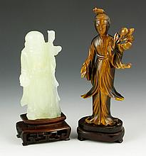 2 Carved Chinese Figures