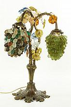 Art Glass and Brass Lamp