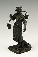 19th C. Bronze Maiden Sculpture