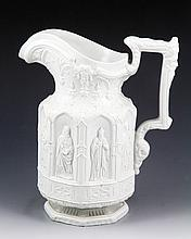 19th C. English Relief Molded Pitcher