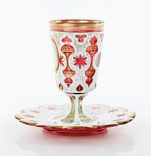 19th C. Bohemian Glass Goblet and Dish