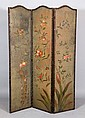 19th C. 3 Panel Painted Screen