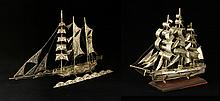 Two Sterling Silver Ship Models