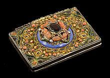 19th C. Hungarian Jeweled Silver Box