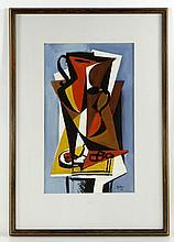 Kuttner, Cubist Style Abstract, Gouache