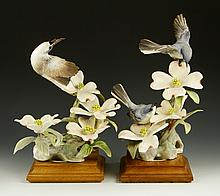 Pair of Royal Worcester Blue-Grey Gnatchers