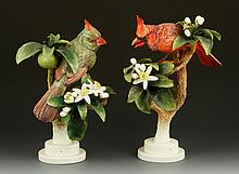 Pair of Royal Worcester Red Cardinals