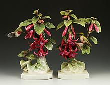 Pair of Royal Worcester Ruby Throated Hummingbirds