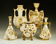 Collection of 5 Royal Worcester Blush Ivory Vases