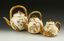 Collection of 3 Royal Worcester Blush Ivory Teapots