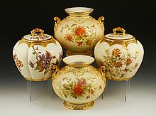 Collection of 4 Royal Worcester Blush Ivory Items