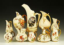 Collection of 10 Royal Worcester Ewers and Pitchers