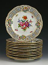 12 Hand Painted Dresden Plates