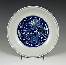 Chinese Blue and White Dragon Dish