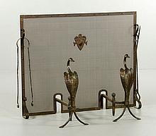 Pr. Hand Wrought Brass Andirons and Fire Screen