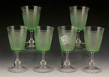 6 Belgian Green Glasses