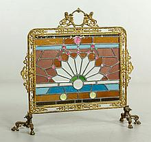 Victorian Leaded Glass and Brass Fire Screen