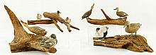 Malmstrom, 4 Carved Wood Duck Groups
