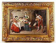 19th C., Interior Scene with Troubadour, O/C