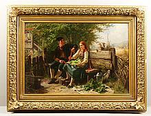 19th C., Couple in a Garden, O/C