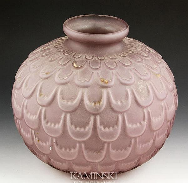 Amethyst Molded Frosted Vase