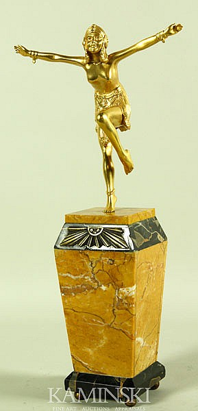 Chiparus, Flapper, Gilded Bronze