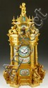 Large Ornate Gilt Bronze and Porcelain Clock
