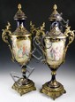 Late 19th C. French Pair Sevres Urns