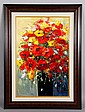 Red Flowers in Vase, O/C