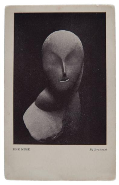 Constantin BRANCUSI (1876-1957).Une muse, 1912.Très rare carte postale en héliogravure éditée en 1913 pour « L'international Exhibition Modern Art Association of American painters and sculptors[...] - February 18 to march 15 1913[...] ».Mention de