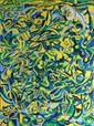 Alain DOGNIN (XXé)  Composition, 1989.  Huile sur toile, signée et datée en bas au milieu, contresignée et datée au dos.  130 x 97 cm.